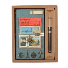 A6铜扣复古旅行手账本笔记本+笔礼盒套装  记事本礼品定制 年度公关礼品
