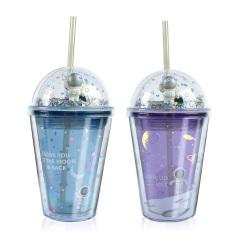 【星际漫游】space cup 创意双层吸管杯 潮流塑料水杯 中秋小礼品