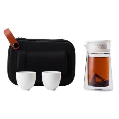 湖畔居 便携旅行功夫茶具套装 一壶两杯玻璃泡茶壶随身装 创意互联网礼品