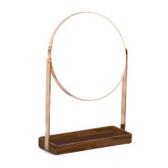 MUSOR 單層托盤簡約款鏡子化妝鏡 實木臺式圓形美容鏡 員工抽獎禮品