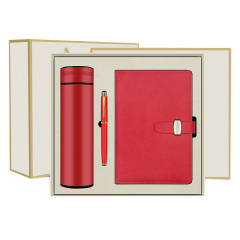 商务简约实用礼盒三件套 保温杯+签字笔+A5笔记本 建军节活动奖品有什么