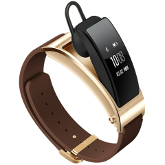 華為(HUAWEI)手環B3商務版 藍牙耳機智能手環二合一 多功能觸控手環 真皮腕帶 創意科技禮品