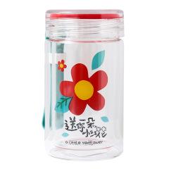 送你一朵小红花玻璃杯 可爱高硼硅手提杯 夏日活动礼品
