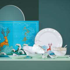 六合太平玲珑版餐具套装 精致双扇礼盒 送礼给领导