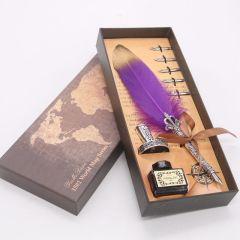 新款创意金属签字笔蘸水羽毛钢笔欧式复古钢笔套装         教师礼品送什么有特色