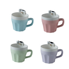 动物咖啡杯立体陶瓷杯 彩色猫咪水杯杯边动物杯  可爱卡通创意杯子