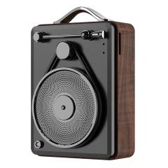 幻響(i-mu)超酷復古木紋唱機造型小音箱 無線藍牙插卡音響 創意便攜戶外小禮品