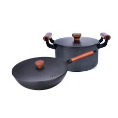 IBOH 铸铁锅套装 味极两件套 老铁炒锅汤锅组合锅具套装 燃气灶适用