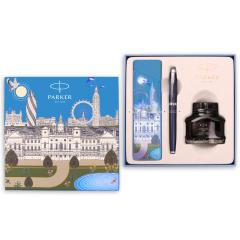 派克PARKER 2016IM蓝色白夹墨水笔+大都会伦敦笔袋礼盒套装 高档商务接待用品