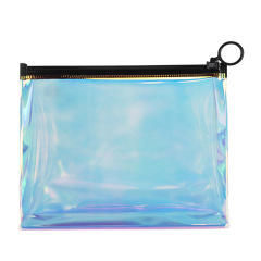 环保旅行收纳袋 镭射透明立体化妆包 炫彩防水洗漱包 活动赠品