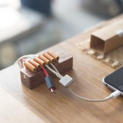 桌面实木束线器理线器  居家办公充电线收纳集线器   桌面收纳小礼品