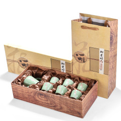 浮雕傲梅哥窑茶组礼盒 一壶六杯七件套茶具礼品套装定制