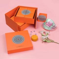 【现货空礼盒】2021年中秋节月饼礼盒包装 橙色高档创意手提6粒8粒装礼品盒双层定制 定制礼品有哪些
