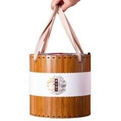 【现货空礼盒】匠心大桶仿竹片布盖粽子 文创礼盒定制