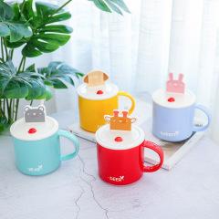彩色系萌寵動物手機支架兩用帶勺帶蓋陶瓷杯 創意卡通杯 來訪客戶小禮品