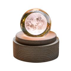 实木音乐盒月球灯 3D水晶球八音盒 创意中秋礼品