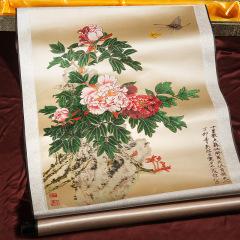 國畫牡丹豎軸真絲織錦工藝畫 文旅項目創意紀念品