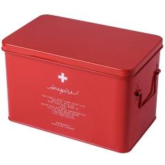 简约纯色铁皮药箱 大容量收纳盒 企业定制礼品