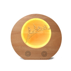 中式滿月燈創意臺燈 木制帶音響小夜燈  創意中秋禮品