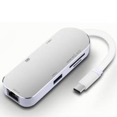 6合1type-c hub转换器 USB-C充电SD/TF读卡