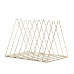 北欧铁艺书架 创意金色三角形书立 办公桌文件整理收纳架 办公创意小礼品