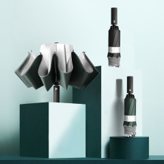 【一把不会打湿的折叠伞】反光条自动伞 反向折叠伞 黑胶/银胶10骨晴雨伞 商务小礼品
