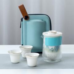 千山旅行羊脂玉白瓷快客杯茶具套装 功夫便携泡茶陶瓷套装 礼品推荐