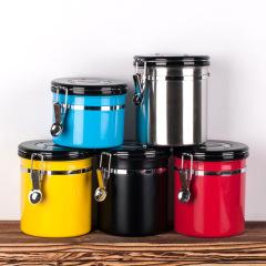 新型不锈钢创意咖啡储存罐 排气阀储存罐 送什么给客户比较好
