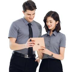 夏季男女同款职业短袖衬衫 商务灰色正装 可定制公司logo