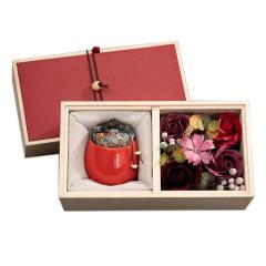 彩陶小罐香薰蜡烛花艺礼盒 香皂花木盒套装 精致礼赠品