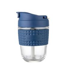 乐扣乐扣(Lock&Lock)可爱便携咖啡杯 带吸管清新玻璃水杯350ml