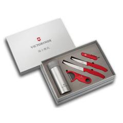 瑞士维氏 Victorinox 瑞士军刀+水果刀+番茄刀+刨皮器+真空保温杯五件套礼盒套装