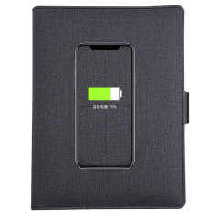 可充电笔记本 多功能无线充电记事本经理夹 8000毫安充电宝+无线充+线+手机支架+收纳 定制logo