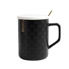 轻奢浮雕陶瓷杯 带勺带盖商务马克杯 办公室小礼品定制