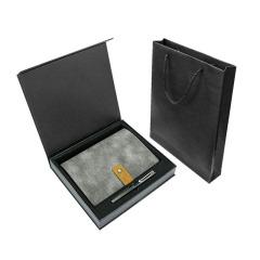 水磨牛仔帆布PU软皮活页笔记本礼盒 A5笔记本签字笔两件套 笔记本礼盒定制