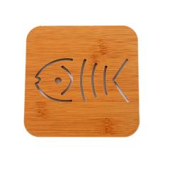 大号镂空防烫加厚木质隔热垫 杯垫--鱼骨 营销活动小礼品
