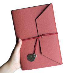 三折绑带活页笔记本 棉麻PU皮面可拆卸手账本 可定制logo