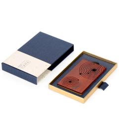 【免費激光定制】方圓名片夾 花梨木鑲嵌黃銅 中國風禮物紅木名片盒創意禮品 刻字定制名片夾
