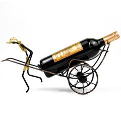 中國風禮品創意人力黃包車酒架復古鐵藝紅酒架家居擺件   家居禮品送什么