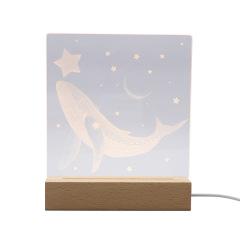 矩形led实木底座暖光海豚星星款3D小夜灯      创意礼品
