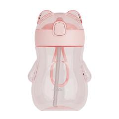 環保Tritan兒童吸管杯 可愛小熊隨手杯 卡通便攜防摔塑料水杯350ML 兒童節小禮品