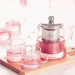 优雅玻璃茶具套装 花草茶具 透明耐热玻璃过滤 一壶四杯 春夏礼品套装