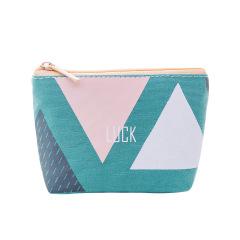 【灰绿】时尚几何系列帆布零钱包 出游随身携带帆布小钱包 轻便小礼品