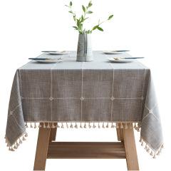 拼色棉麻布艺刺绣桌布 大中小格子长方形茶几桌垫 聚餐礼品