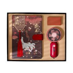 古风夏季便携式小风扇礼盒 小风扇+手账本 夏季活动奖品