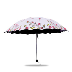 黑膠玫瑰太陽傘 防曬遮陽傘 三折晴雨傘 活動禮品