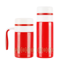 菲馳(VENES)中國紅盛世東方養生骨瓷辦公杯直杯兩件套 公司送什么禮品