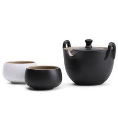 【戰國鼎】牛津包款 一壺二杯 旅行茶具套裝 復古粗陶普洱茶壺禮盒兩件套 公司銷售業績比賽獎品