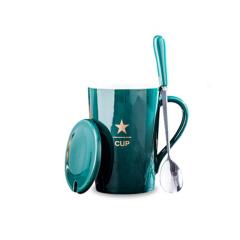 陶瓷杯 咖啡杯 广告杯子水杯带盖勺子礼盒装    送客户小礼品