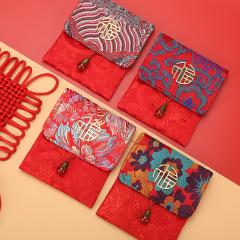 中国传统唐绣福袋 高档锦缎红包 福字利是封定制 商务礼品定制什么好